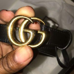 Black leather AUTHENTIC GUCCI belt